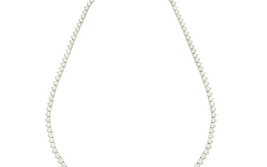A white gold and diamond rivière necklace