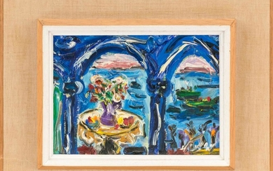 "AMOS YASKIL, Israel, b. 1935, ""Flowers over the Lake""., Oil on canvas, 8"" x 10"". Framed 14"" x 17""."
