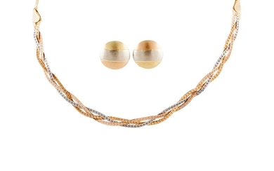 AN 18CT YELLOW, WHITE AND ROSE GOLD NECKLACE AND EARRINGS, 1...