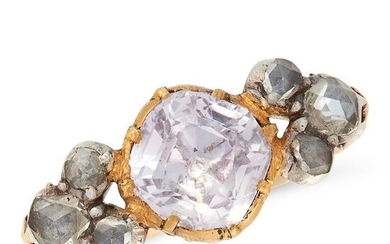 AN ANTIQUE AMETHYST AND DIAMOND RING, EARLY 19TH