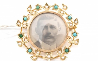 AN AUSTRALIAN SEED PEARL AND TURQUOISE BROOCH/LOCKET IN 15CT GOLD, HALLMARKED BY DUGGIN, SHAPPERE & CO, MELBOURNE (1896-1932)
