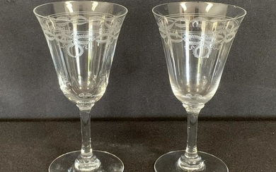 ANTIQUE BACCARAT ETCHED WREATH CRYSTAL GLASSES X 2