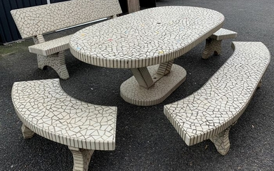According to the creations of the horse factor: Important garden furniture in mosaic earthenware - Earthenware - 1960-1969