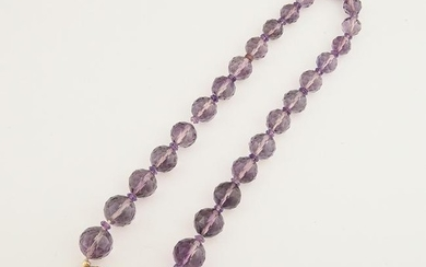 Amethyst, Seed Pearl, Enamel, 14k Yellow Gold Necklace.