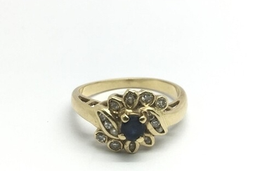 An 18ct gold sapphire and diamond ring, approx 3.4g and appr...