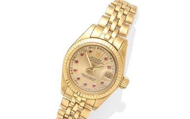 An 18k gold and ruby 'datejust' wristwatch