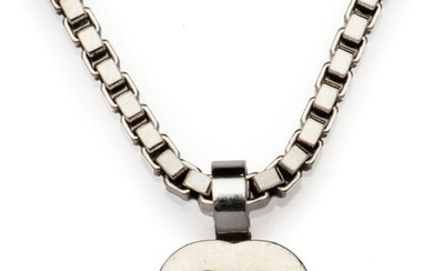 An 18k white gold diamond necklace with pendant, by Chopard