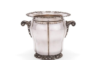An Italian silver wine cooler by Enrico Messulam