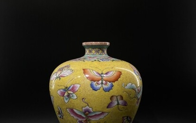 An modern Chinese enamelled hundred butterflies meiping vase with...