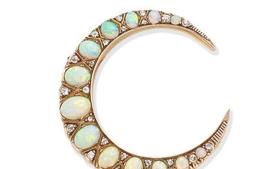 An opal and diamond crescent brooch