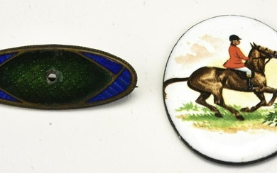 Antique Enamel Brooch / Pin & Enamel Horse Plaque
