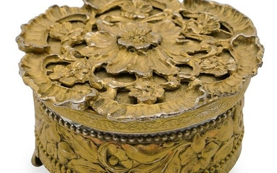 Antique Gilded Mixed Metal Vanity Box