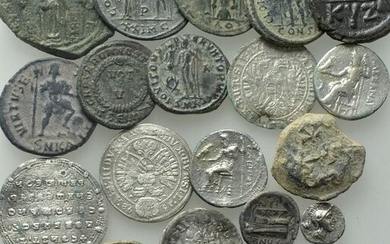 Antiquity - Lot comprising 18 AE and AR coins, including: 2 Drachms of Alexander III (336-323 BC) / AR Miliaresion, Constantine VII and Romanus II (945-959)
