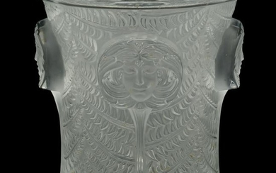 Art Nouveau Lalique Crystal Ice Bucket with Head