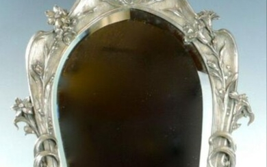 Art Nouveau Silverplate Beveled Dresser Mirror