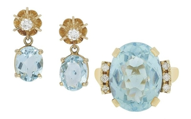 Blue Topaz Ring and Aquamarine Earrings