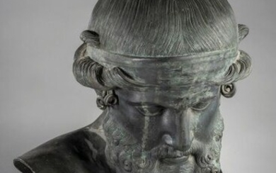 Bronze bust with brown patina, representing the god Priape or Priapus