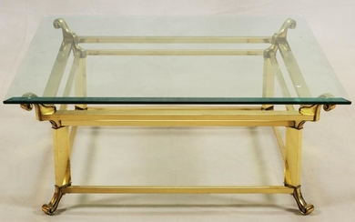 CONTEMPORARY BRASS FINISH & GLASS TOP COFFEE TABLE