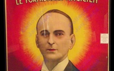 Carrington's Poster The Great Magician: 1930 - Probably Carrington's best known poster. Luminous portrait in front of a blazing sun. Designed by Louis Galice. Poster Louis Galice. 99 Faubourg St Denis - Paris.