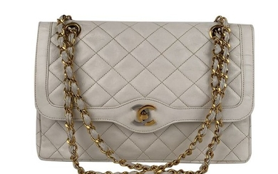 Chanel - Vintage White Quilted Leather Limited Edition Double Flap Bag Shoulder bag