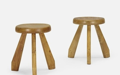 Charlotte Perriand, stools from Les Arcs, pair