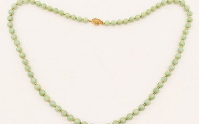 Chinese 14k Jade Bead Necklace 26''. A strand of