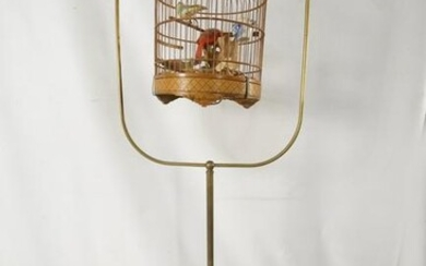 Chinese Bird cage on antique brass stand