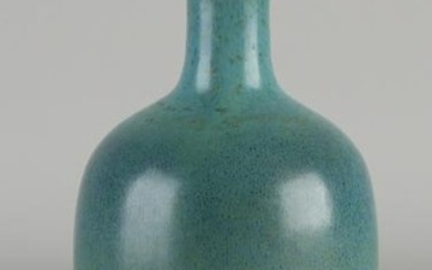 Chinese porcelain celadon vase with blue-green