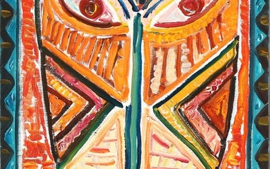 """Claus Bojesen: """"Orange Senufo"""". Signed, titled and dated on the reverse. Oil on canvas. 55×46 cm."""