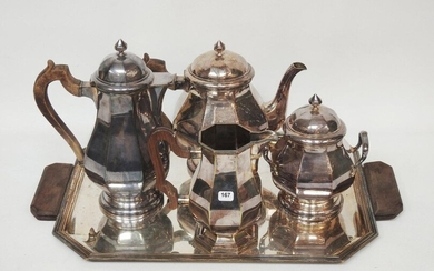 Coffee and tea set in silver-plated metal, flat-ribbon design with wooden handles, consisting of two pourers, sugar bowl, creamer and tray