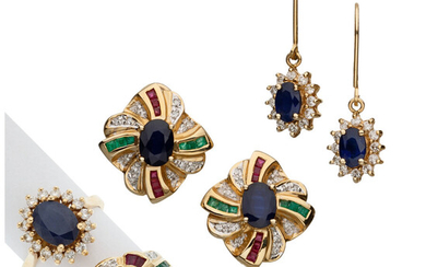 Diamond, Multi-Stone, Gold Jewelry Suites The lot consists of...