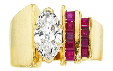 Diamond, Ruby, Gold Ring The ring features a marquise-shaped...
