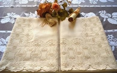 Double sheet in 100% pure linen with hand stitched embroidery - Linen - AFTER 2000