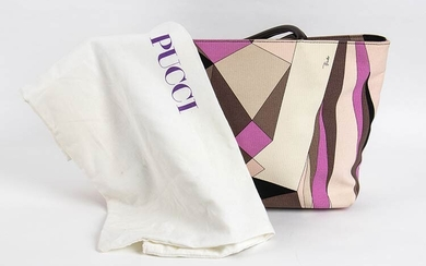 EMILIO PUCCI CANVAS SHOPPING BAG Early 2000 Canvas tote, leather...