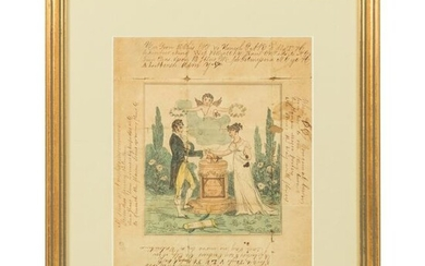 Early 19thC Framed Hand Colored Valentine & Poems