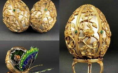 FABERGE STERLING SILVER BUTTERFLY EGG