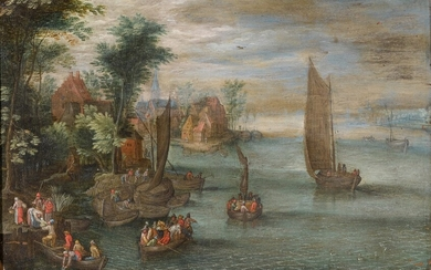 FOLLOWER OF JAN BRUEGHEL THE YOUNGER | RIVER LANDSCAPE WITH FIGURES IN BOATS AND A VILLAGE AT THE WATER'S EDGE