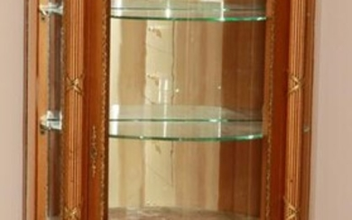"""FRENCH STYLE GILT CURIO CABINET H 55"""" W 27"""" D 14"""""""