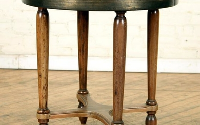 FRENCH WALNUT OCCASIONAL TABLE EMBOSSED BRASS TOP