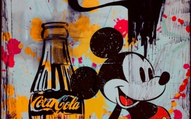 Felix von Altersheim, Deluxe 12 colour pigment print, matte, on Butler finish – silver-brushed aluminium, title: Mickey Mouse - Tribute to Andy Warhol - Coca Cola.
