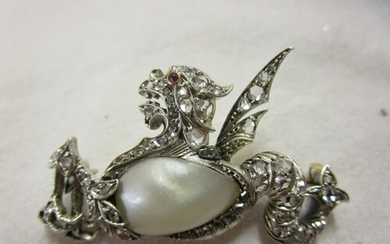 Fine antique pearl & diamond dragon brooch