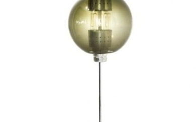 Floor lamp in chrome-plated brass, glass shade smoked