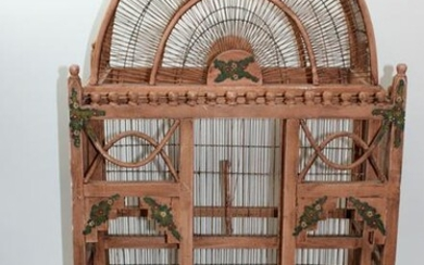 Folk Art painted wooden birdcage