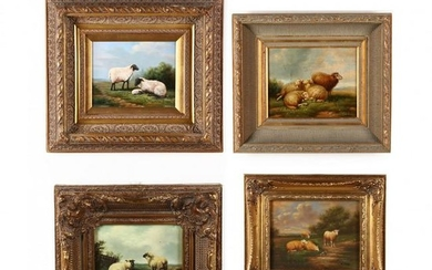 Four Contemporary Decorative Paintings of Sheep