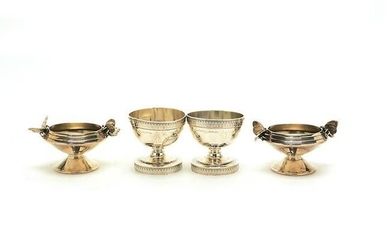 Four Footed Sterling Silver Bowls, Two with Applied