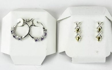Four Pairs of Yellow Gold Sterling Silver Earrings