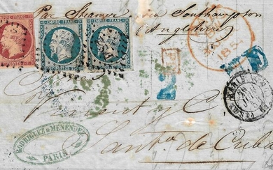 France 1853 - Very rare Empire, 1 franc carmine and 25 centimes, in pair on letter bound for Cuba. - Yvert 18-15