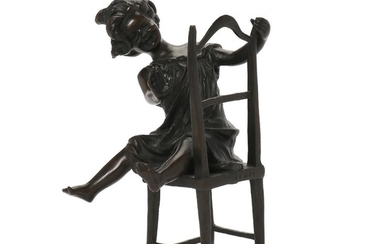 Franz Iffland: A patinated bronze figure of a girl on a chair. Signed. H. 22 cm.