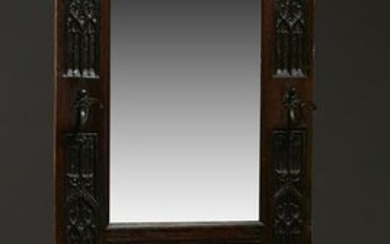 French Carved Oak Gothic Revival Hall Tree, late 19th