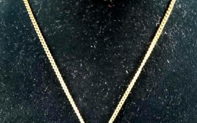 Gold Colored and Faux Sapphire Pendant Necklace
